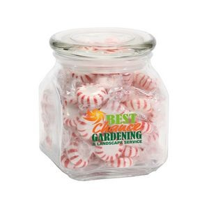 Striped Peppermints in Med Glass Jar